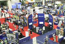 Attendees walk the expo floor at APWA conference
