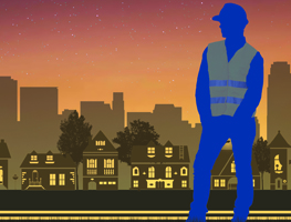 Illustration of public works professional against a community skyline