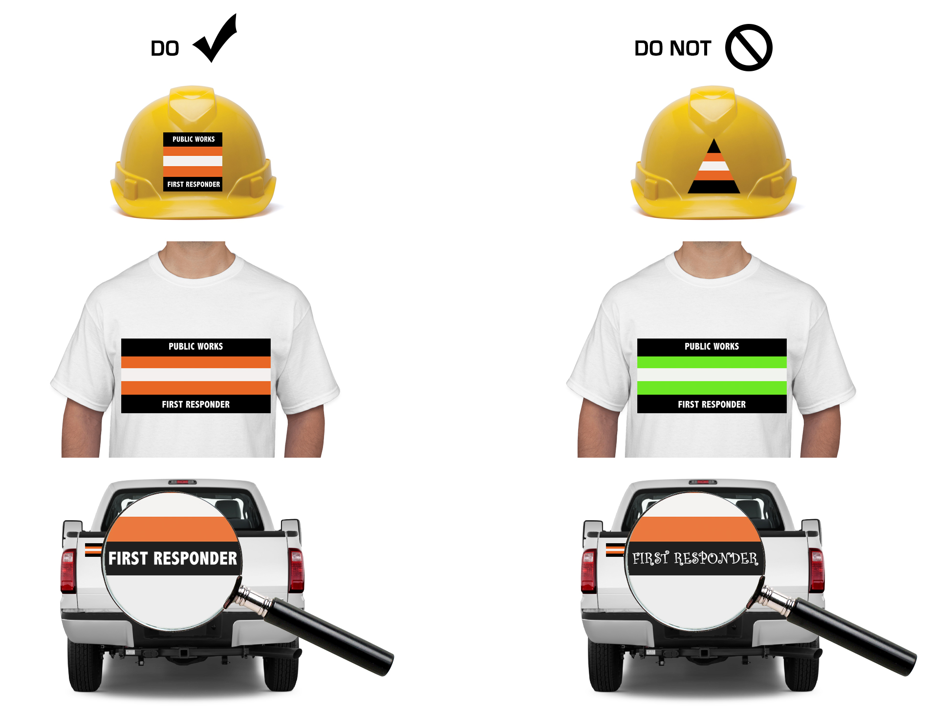 Do's and Don'ts for using Public Works First Responder logo